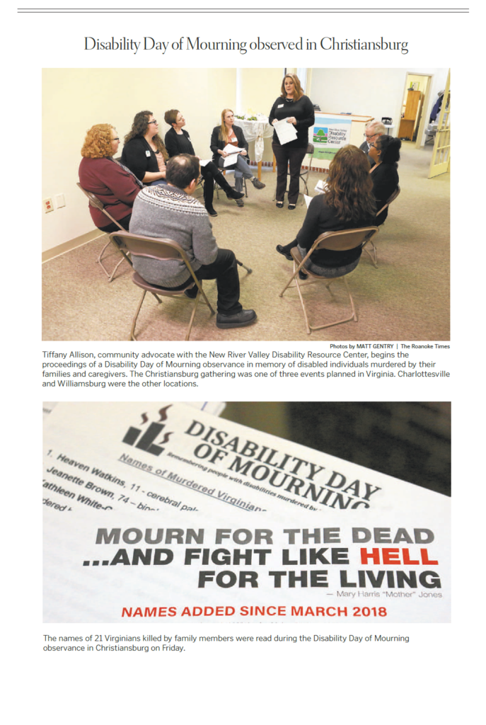 Screenshot of Roanoke Times article on Disability Day of Mourning shows Tiffany Allison leading group discussion on topic and a picture of flyers listing people with disabilities who've been killed