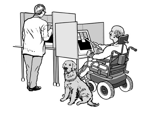 A voter with a disability casting his ballot