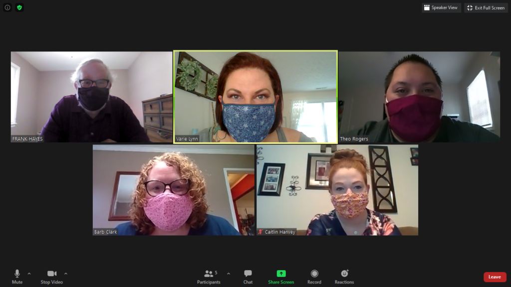 NRV DRC Staff wear their cloth face masks while video chatting at their daily Zoom staff meeting as a way to show the precautions they are taking to maintain safety in the community during the global pandemic.