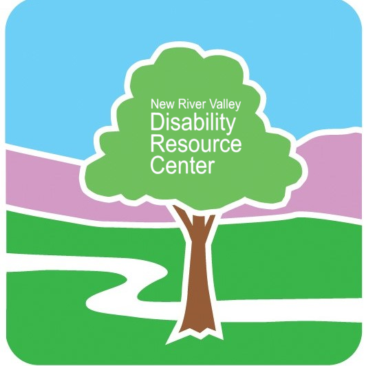 NRV DRC logo with white wordage inside of it that spells out New River Valley Disability Resource Center